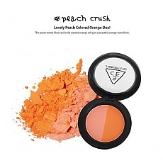 [3CE] Duo Color Face Blush Peach Crush (Lovely Peach Colored Orange Duo) 10g