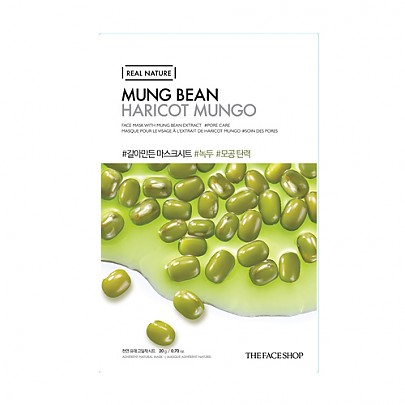 [The face shop] Real Nature mascarilla (Mungbeans)