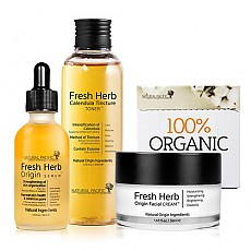 [Natural Pacific] Fresh Herb Origin Set ( Serum + Toner + Cream + Cotton Pad )