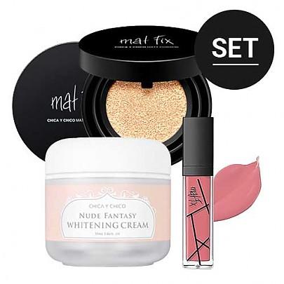 [CHICA Y CHICO] Simple Makeup Set (Nude Fantasy Whitening Cream+Matt Cushion #22 + Matt Lip #03)
