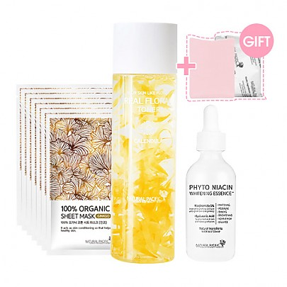 [Natural Pacific] Whitening Set ( New Real Calendula Toner + Phyto Niacin Essence + Calming Soap + Sheet Mask 6ea )