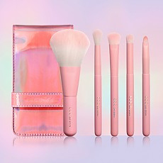 [CORINGCO] Pink Hologram Mini Make-Up brocha Set 5P